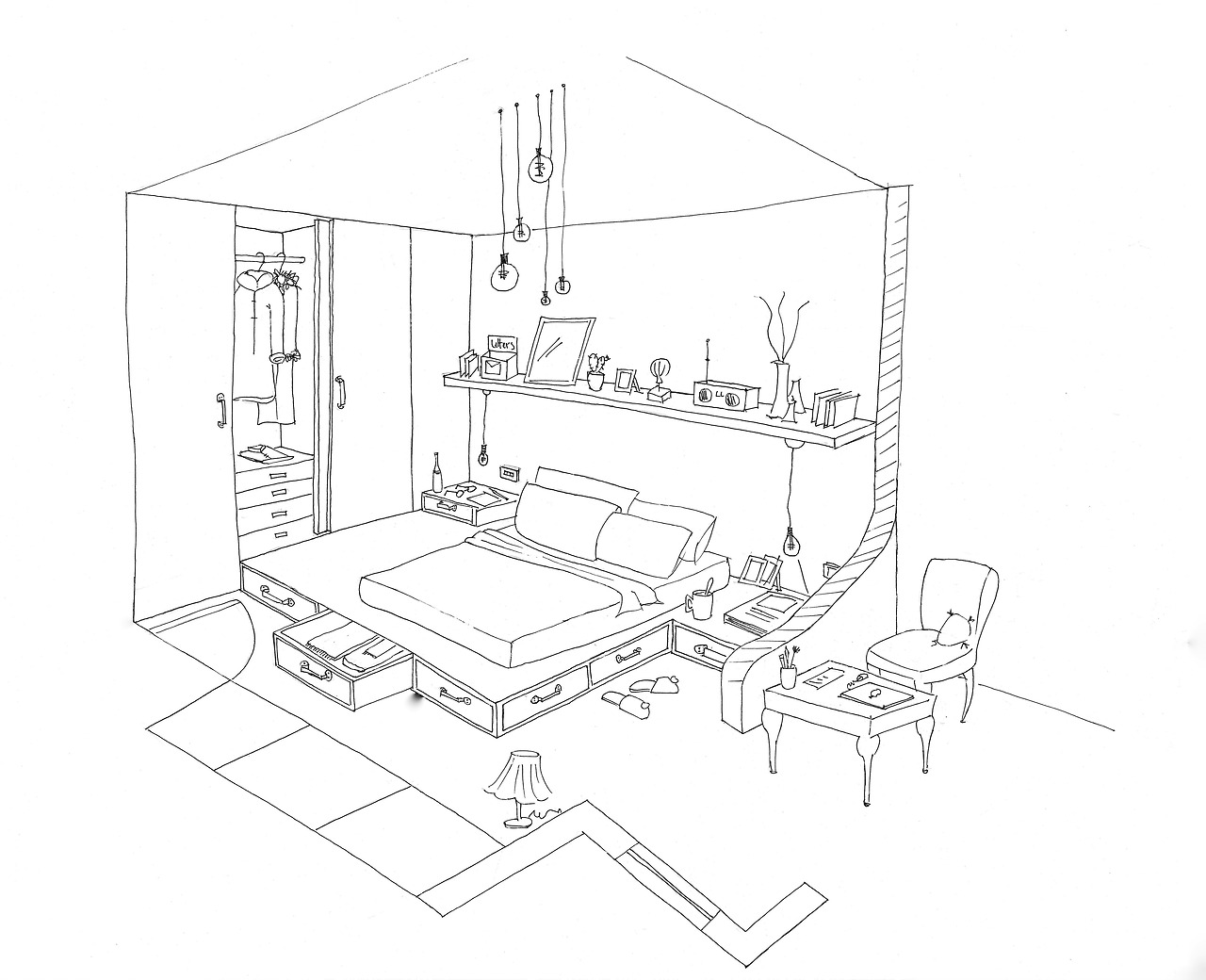dessin de coloriage chambre imprimer cp06356. Black Bedroom Furniture Sets. Home Design Ideas