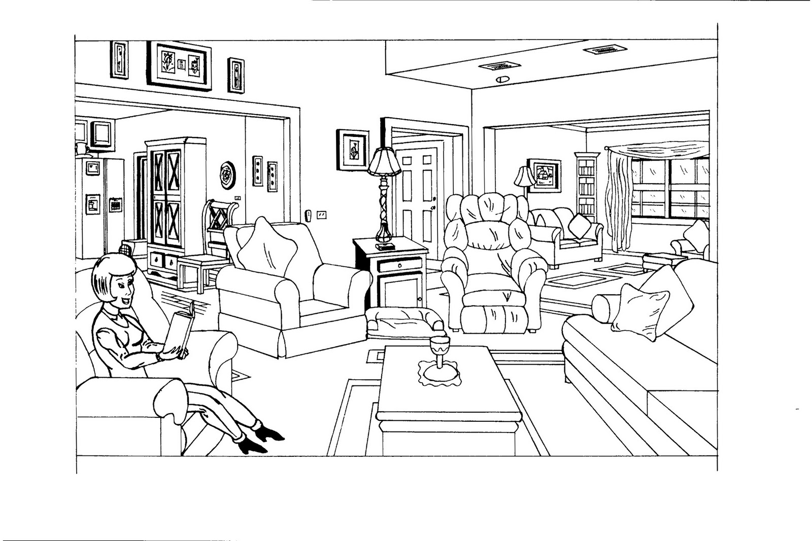 dessin de coloriage chambre imprimer cp06377. Black Bedroom Furniture Sets. Home Design Ideas